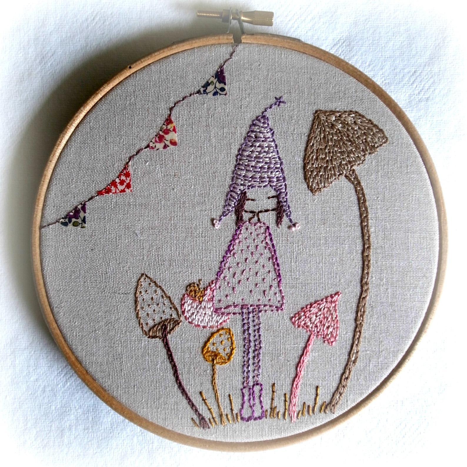 mushroom pixie hand embroidery pattern