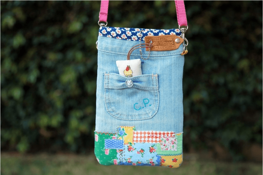 upcycled jean cross body purse