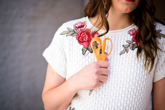 flower applique sweater refashion