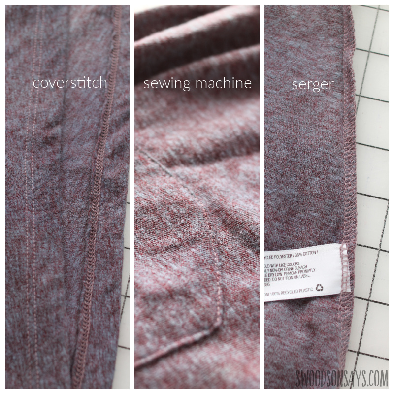 difference is between a serger (or overlocker) vs. cover stitch vs. sewing machine: