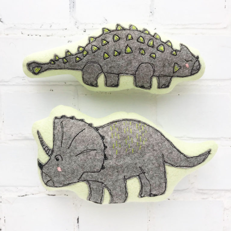 dinosaur embroidered toys