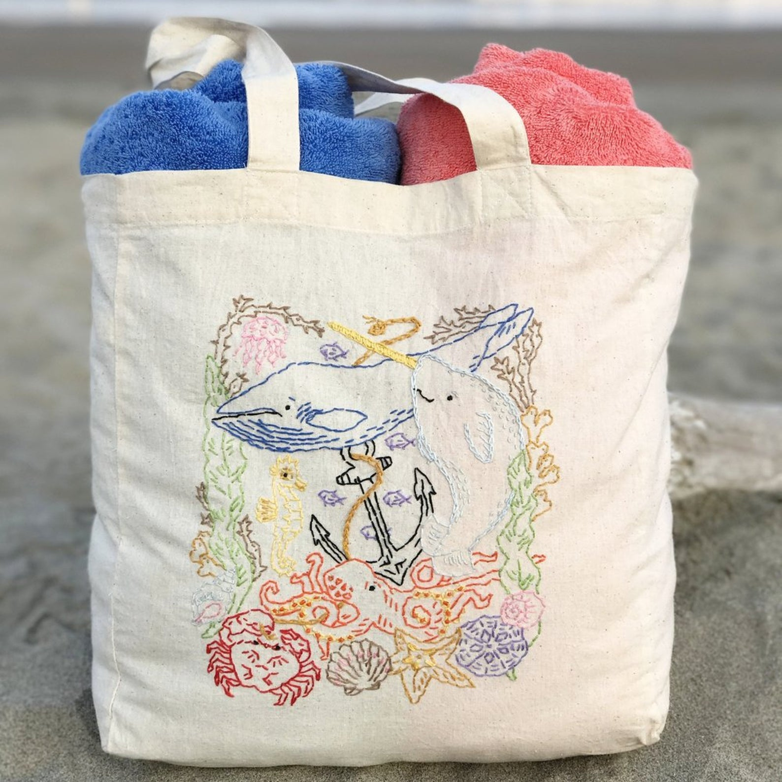 sea embroidery pattern kit