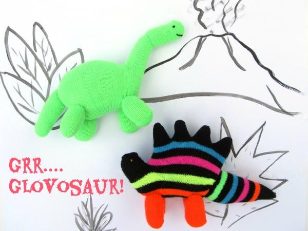 upcycled glove dinosaur tutorial