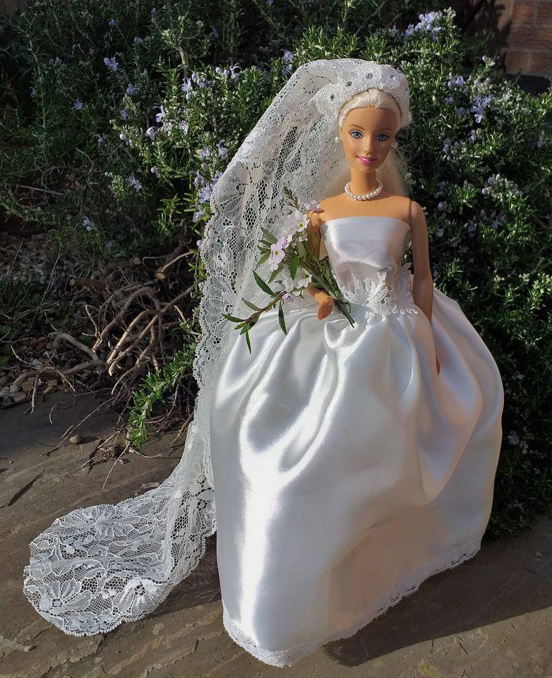 upcycled wedding dress into Barbie wedding dress