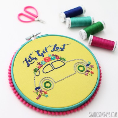 vw bug hand embroidery pattern