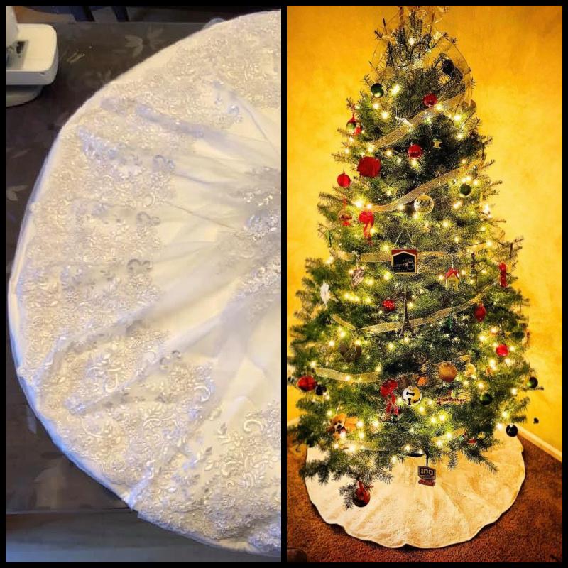 wedding dress upcycle into tree skirt