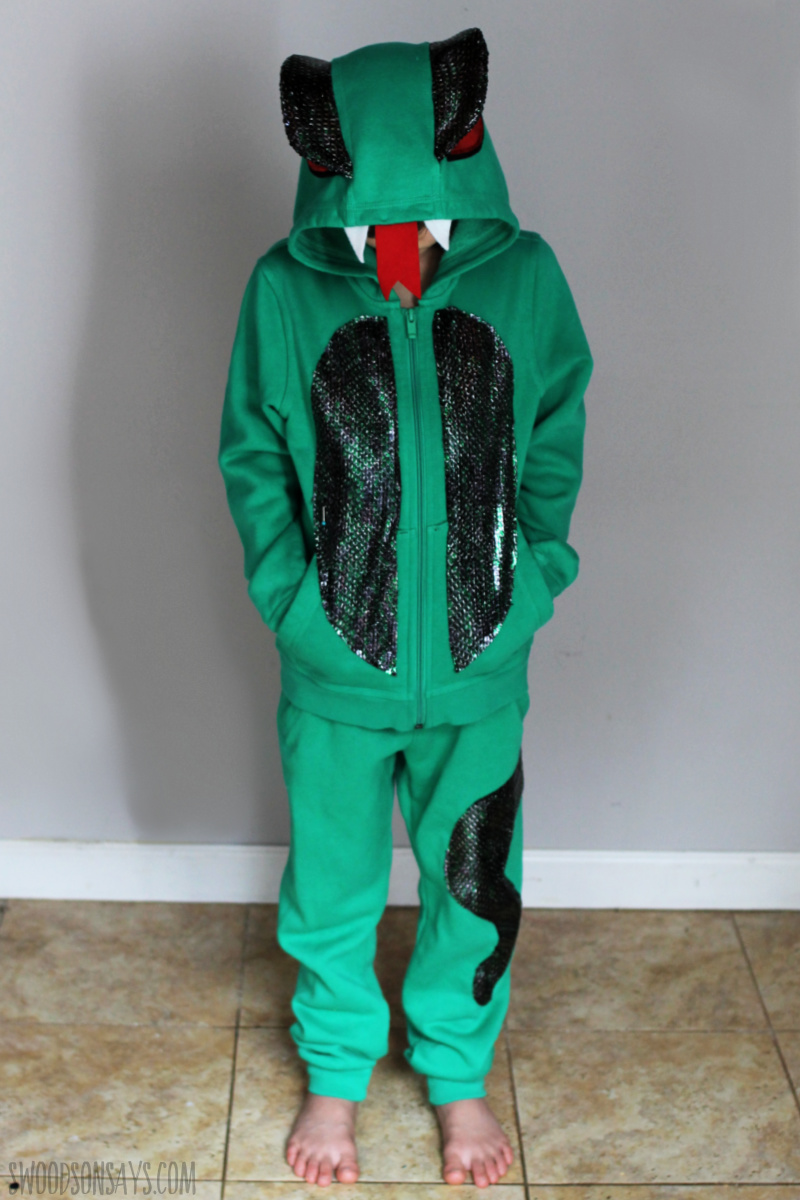diy snake kids costume hoodie