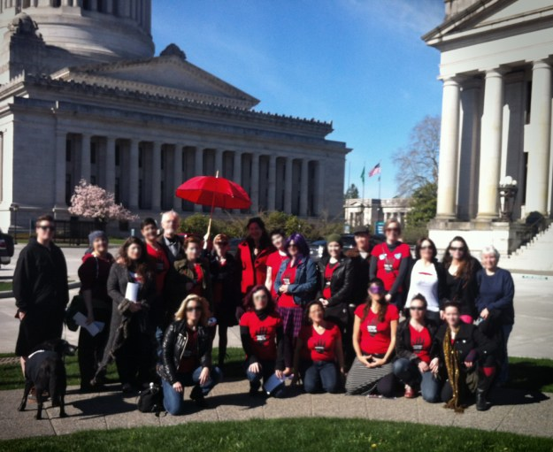 "Volunteers from SWOP-Seattle meet at the State House to express concerns over ""End Demand"" bills."