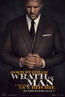 Wrath of Man poster with Jason Statham looking sombre in a suit