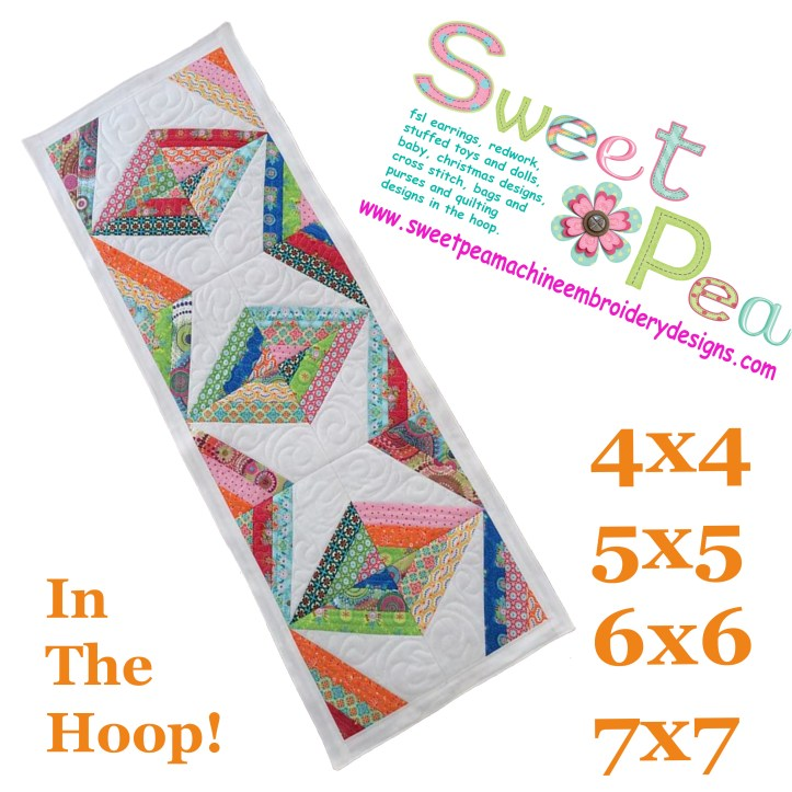 Diamond stripe table runner 4x4 5x5 6x6 7x7 in the hoop machine embroidery design.jpg