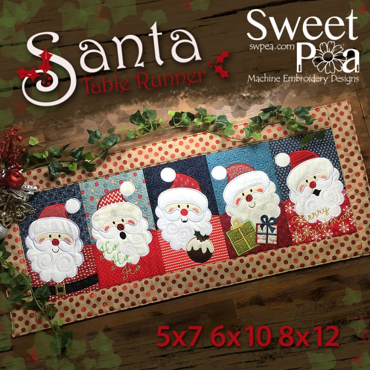 Santa Table Runner 5x7 6x10 8x12 in the hoop