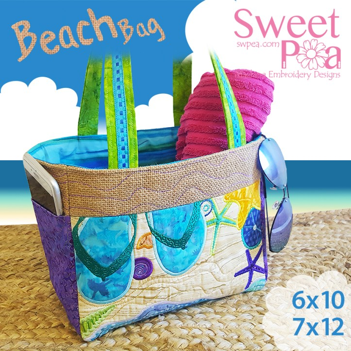 machine embroidery design in the hoop beach bag