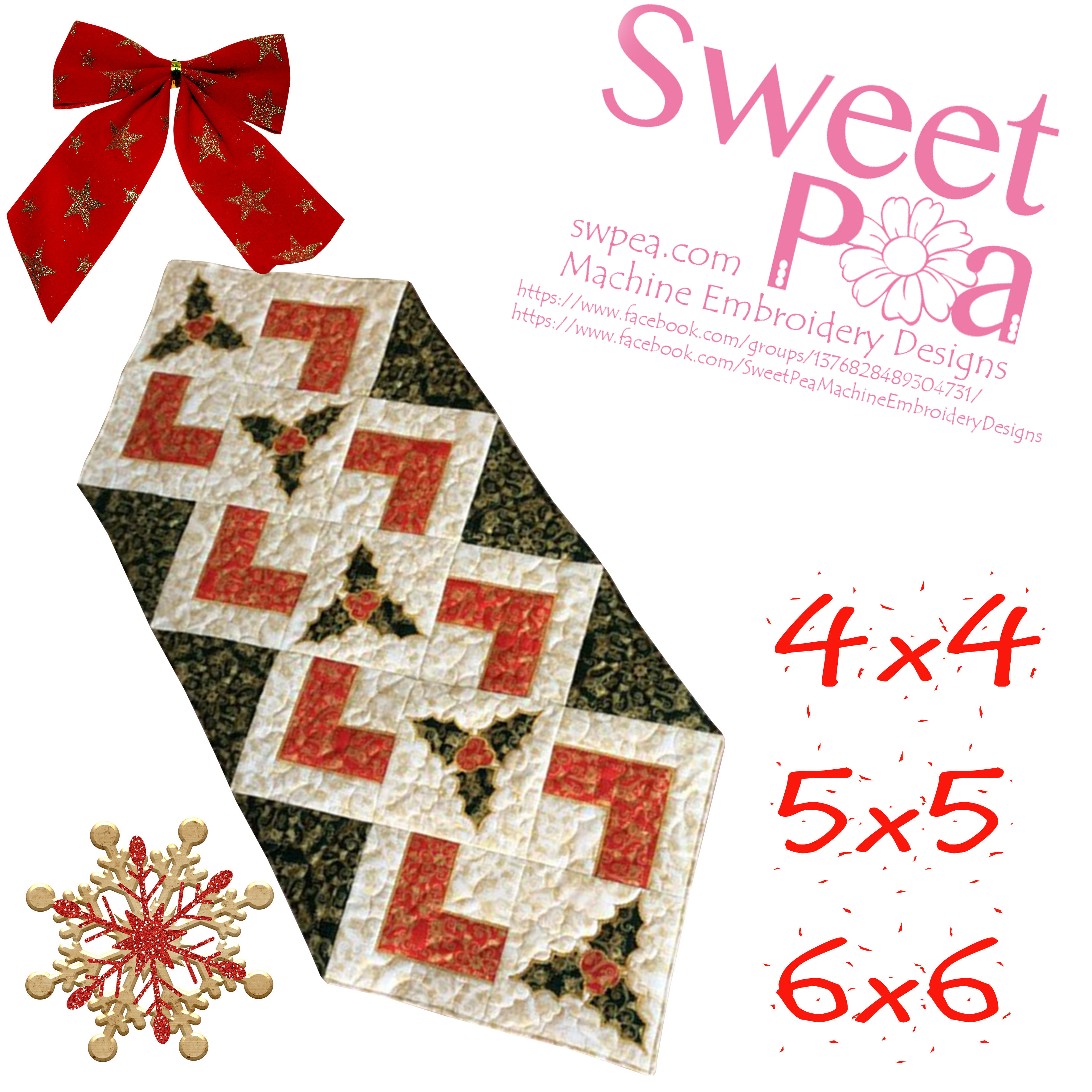 Christmas Holly Table Runner And Quilt Blocks 44 55 66 In The