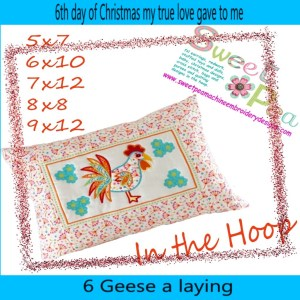 machine embroidery design rooster geese