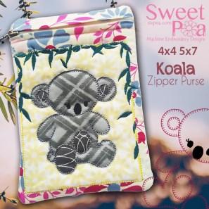 Koala Zipper Purse 4x4 5x7 in the hoop