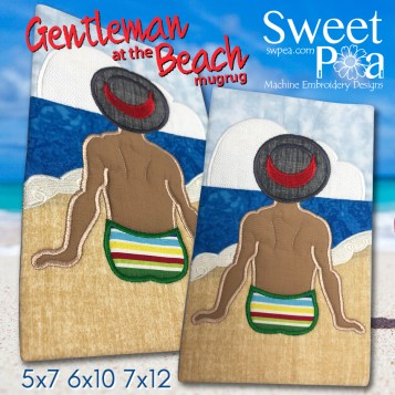 Gentleman at the beach 5x7 6x10 7x12 in the hoop