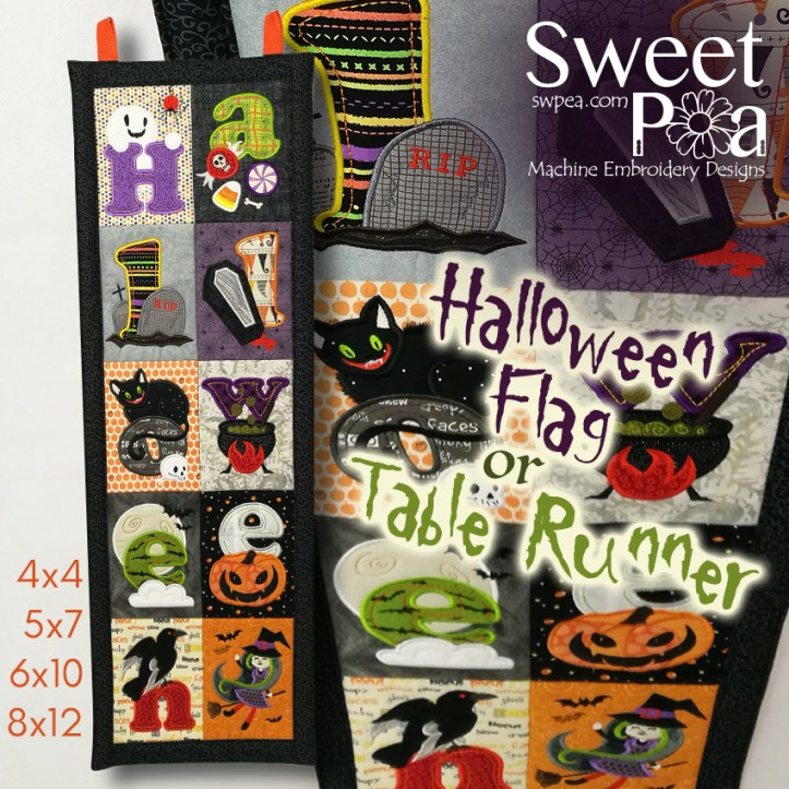 halloween flag or table runner 4x4 5x7, 6x10 & 8x12 in the hoop