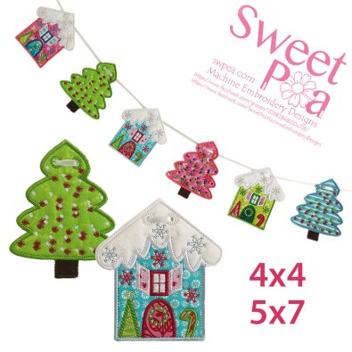 Christmas-Cottage-&-Christmas-Tree-Bunting-4x4-5x7-in-the-hoop