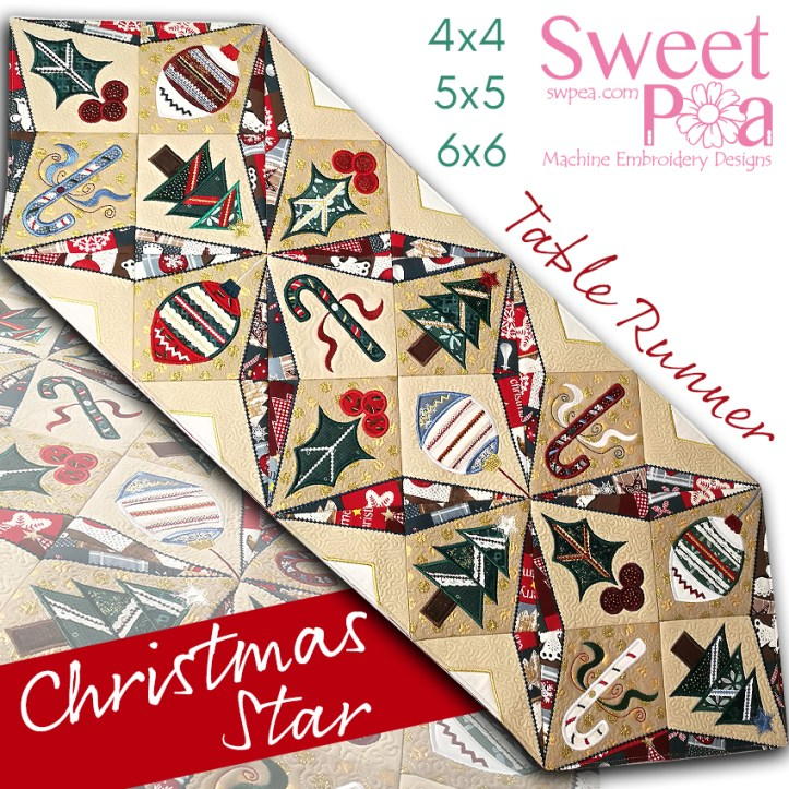 Christmas Star Table runner 4x4 5x5 6x6 in the hoop