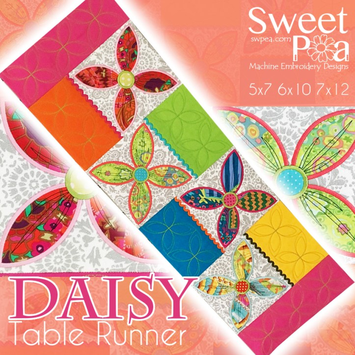 Daisy Table Runner 5x7 6x10 7x12 in the hoop