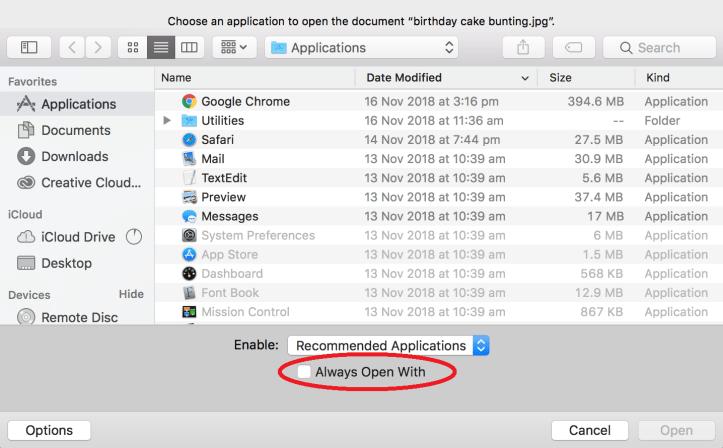 Setting file association Mac2