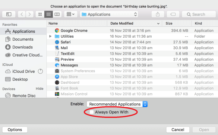 Setting file association Mac2