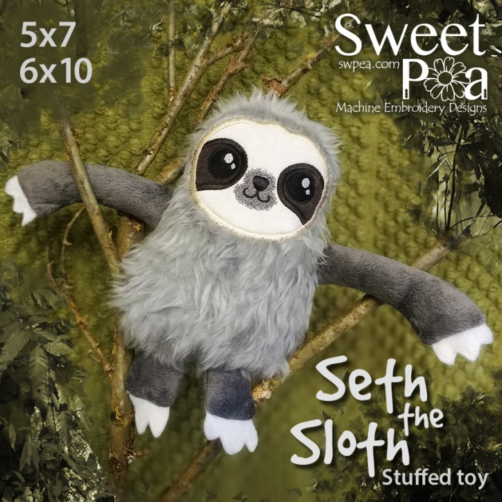 Seth the sloth 5x7 6x10 in the hoop