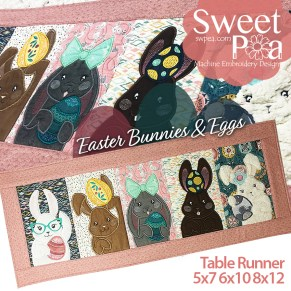Easter Bunnies and Eggs Table Runner 5x7 6x10 8x12 in the hoop