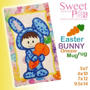 Easter Bunny Onesie Mugrug 5x7 6x10 7x12 9.5x14 in the hoop