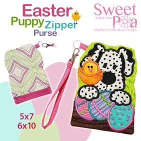 Easter Puppy Zipper Purse 5x7 6x10 in the hoop