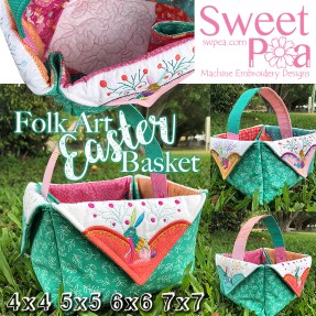 Folk art easter basket 4x4 5x5 6x6 7x7 in the hoop