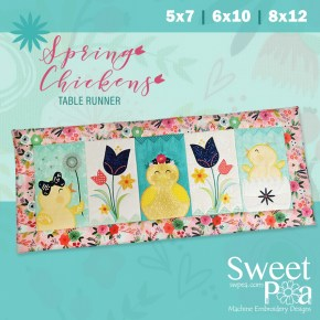 Spring Chicken Table Runner 5x7 6x10 and 8x12 in the hoop