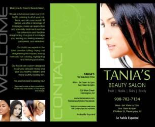 Tania's Beauty Salon Brochure Front