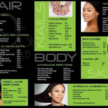Tania's Beauty Salon Brochure Inside