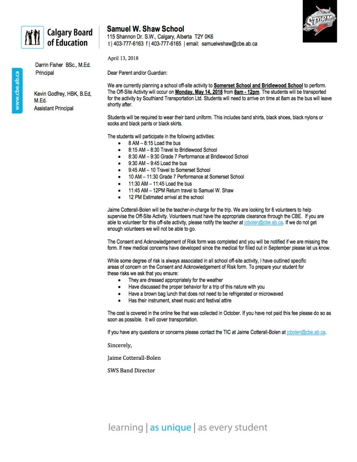 Feeder School Concerts Parent Letter Grade 7