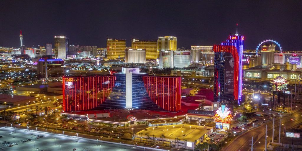 Las Vegas, Nevada, USA - September 20, 2014:The Las Vegas strip brightly illuminated at night. The Rio Hotel in front where the WSOP is held every year and the whole strip from the Stratosphere Tower over the Wynn to the Flamingo.