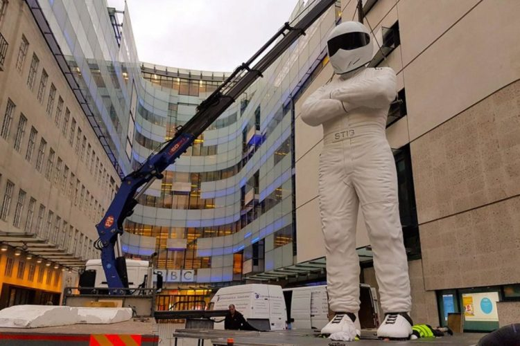 Towering: this massive statue of The Stig has been erected outside Broadcasting House Junaid Ahmed / BBC