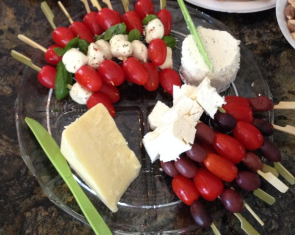 Cold kabobs make great party hors d oeuvres, but they can also make fantastic lunchbox additions.  Try Italian style with mozzarella balls, cherry tomatoes, and fresh basil, or Greek style with kalamata olives, cherry tomatoes, and feta cheese.