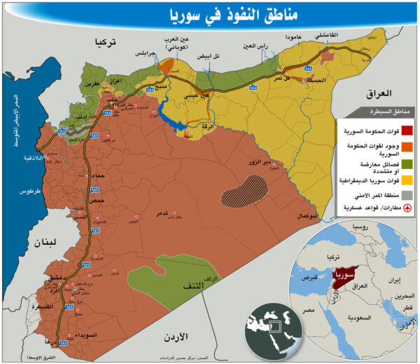 توزع النفوذ في سوريا 600x519 - للمرة الأولى منذ 2012.. هذا ما تغيّر في خريطة توزع النفوذ والسيطرة في سوريا - Mada Post