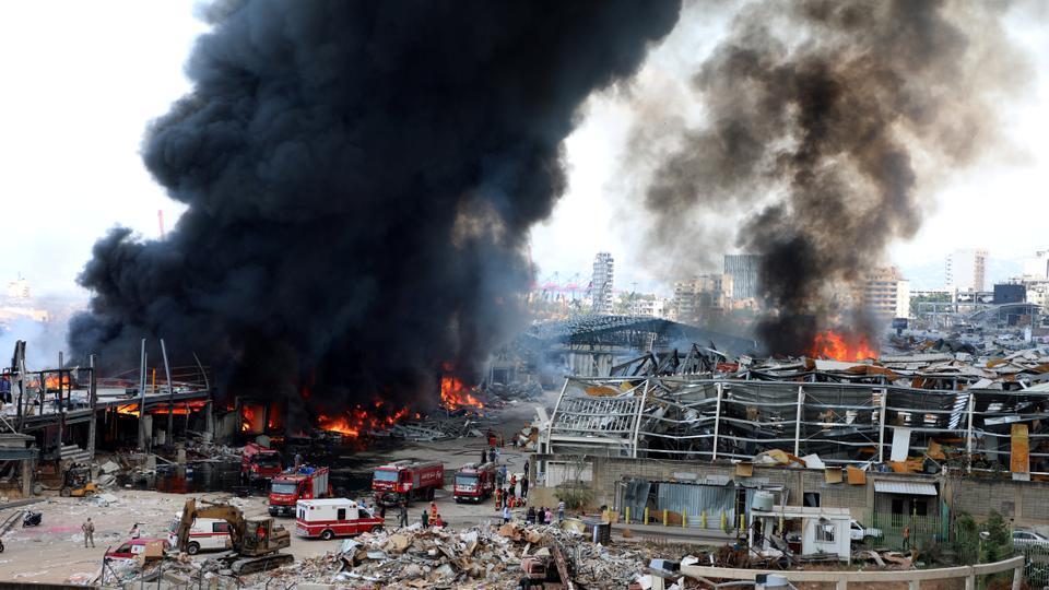 حريق جديد في مستودع للإطارات والزيوت بمرفأ بيروت