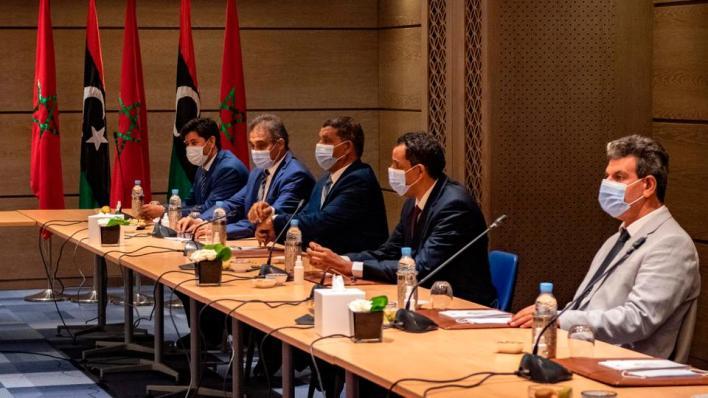 جانب من المشاورات الليبية التي تمت في المغرب