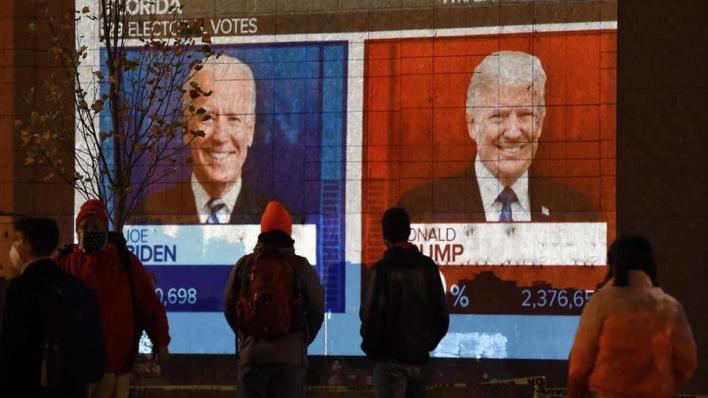 ارتفع عدد أصوات المرشح الرئاسي جو بايدن في المجمع الانتخابي إلى 248 مقابل 214 لمنافسه الجمهوري دونالد ترمب