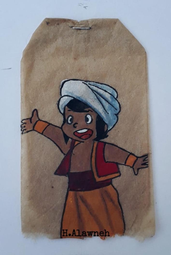 9507388 848 1267 4 6 - فنانة أردنية تحوِّل أكياس الشاي إلى لوحات فنية