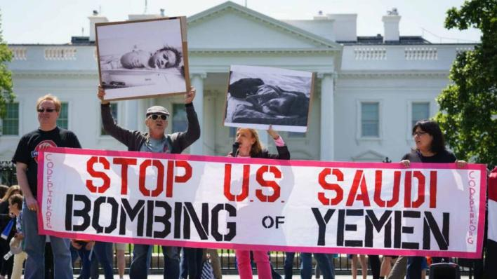 مظاهرة أمام البيت الأبيض ضد تورُّط الولايات المتحدة في الحرب التي تقودها السعودية في اليمن