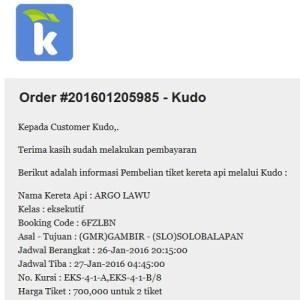 Notifikasi Pembelian Tiket KA dari Kudo (foto dokpri)