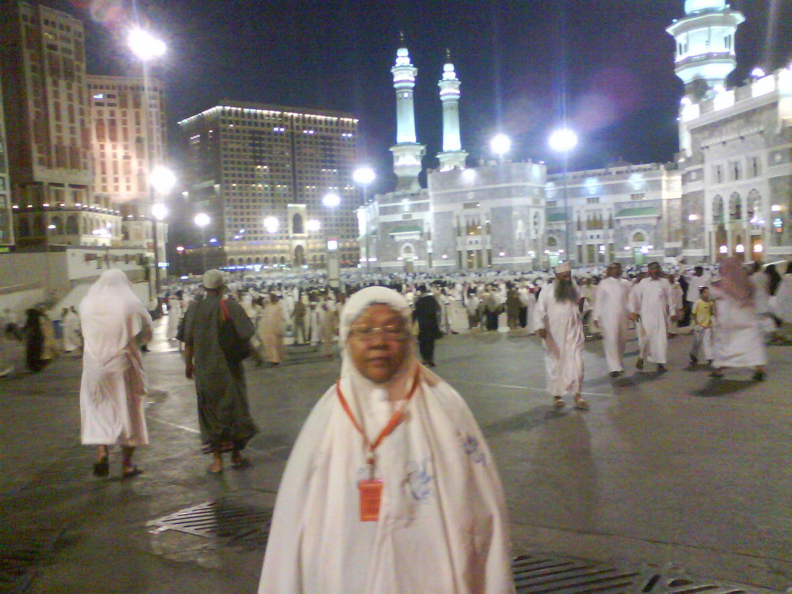 My beloved wife in front yard of King Abdel Azis Gate of Masjid al Haram, Mecca