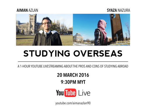 Aiman Azlan and Syaza Nazura livestream 2016 - Studying Overseas (video included below)