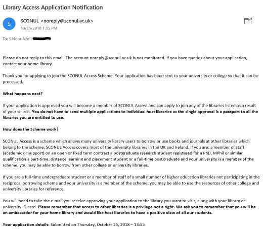SCONUL Access Scheme Application Notification