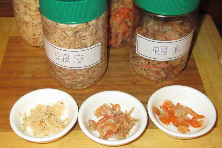 A selection of dried shrimp