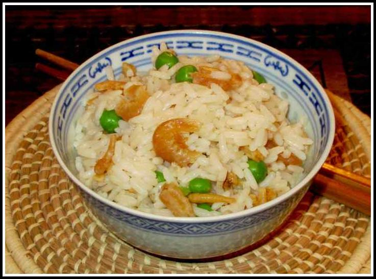 A dish of rice made with dried shrimp